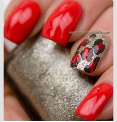 Accent Nails With Leopard Print