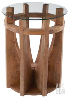 Wooden Sundial Side Table Home Accessories at Art.com