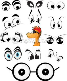 Character set of cartoon eyes vector illustrations