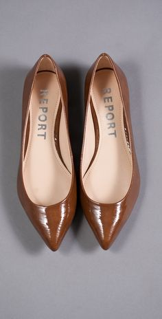 Patent leather, Mocha Brown, Pointy Flats.