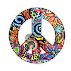 Hippie Peace Sign Sticker - Colorful Flower Car Decal Peace Symbol Laptop Decal Vinyl Bumper Sticker Hippie Cute Car from MeganJDesigns. #design #art #decal #car #boho #stickers #hippie #peace.