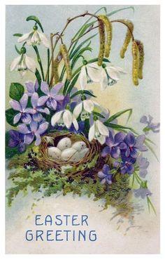 Easter greetings nest of eggs flowers BW Series 307 Vintage Greeting Cards, Vintage Ephemera, Vintage Postcards, Easter Art, Easter Bunny, Easter Decor, Fete Pascal, Old Cards, Easter Parade