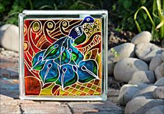 Painted Glass Block / Sun Catcher & Night par OrnatelyLanterns