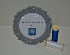 Pretty Fly for a Wifi  Completed Cross Stitch by CatInLapStudio, $18.00