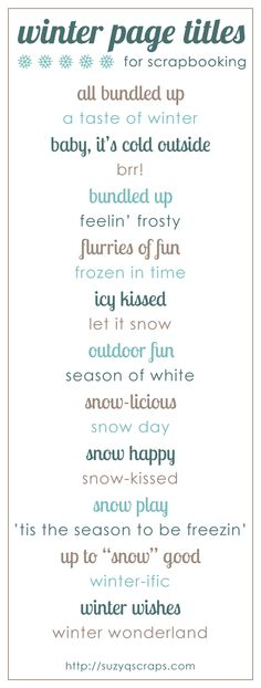 winter scrapbook ideas | winter scrapbook page titles