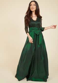 Applaud Your Elegance Maxi Dress. As you float through the great hall in this emerald green ball gown by Eliza J, you receive accolades all around. #green #modcloth
