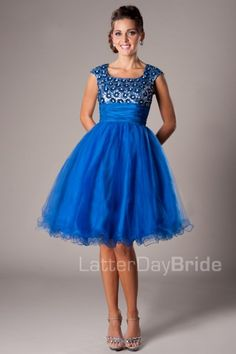 The Avalynn   This flirty gown features a sequined top, rouched waist and full tulle skirt.    Dress available in Blue, Red or Yellow    Dress Shown in Blue    Available at LatterDayBride.com or in Store At Latter Day Bride Located in Salt Lake City, Utah