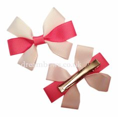 Pink and white grosgrain ribbon hair bows on alligator clips - www.dreambows.co.uk #hairbows #ribbonbows #girls #hair