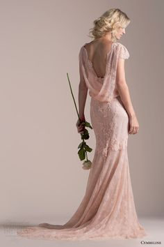 cymbeline bridal 2015 iphigenie rose pink lace wedding dress blouson scalloped cap sleeve bodice high neckline cowl back view