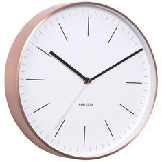 Karlsson Minimal Copper Clock - White - Classic meets contemporary with this designer wall clock from Karlsson! The Karlsson Minimal Copper Clock - White features a classic white clock face encased in sleek copper. This stunning design is therefore the perfect way to get on board with the current metallic trend in a subtle but stylish way. This designer timekeeper exudes sophisticated style, whilst still maintaining an air of being understated.