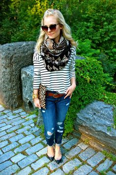 striped shirt, floral scarf, boyfriend jeans, black pumps