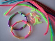 friendship bracelets using colourful straws and pipe cleaners!