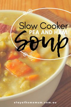 I looove love love Slow Cooker Pea and Ham Soup in the winter or even in the autumn. I make a huge batch at the beginning of winter and freeze into single serves. Slow Cooker Ham Recipes, Slow Cooker Soup, Healthy Crockpot Recipes, Soup Recipes, Cooking Recipes, Budget Recipes, Freezer Cooking, Delicious Recipes, Free Recipes