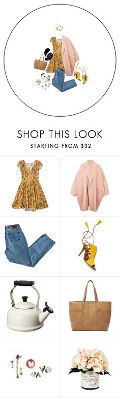 """""""Anomic"""" by hanelle ❤ liked on Polyvore featuring Helmut Lang, Aquazzura, Le Creuset, Tony Bianco, Creative Displays and Twigs & Honey"""