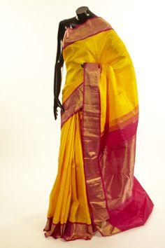 Kancheepuram, Kanjipuram- silk golden yellow saree with blouse