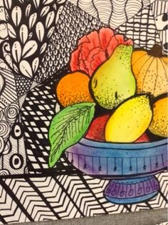 Zentangle Still Lifes What a successful project! We used Sharpie for our Zentangle backgrounds and chalk pastel for our still lifes. Focus was on variety of pattern as well as varied line thickness and value blending. At the beginning of the lesson, the still life image was projected on screen to allow for large classes to view it in detail.