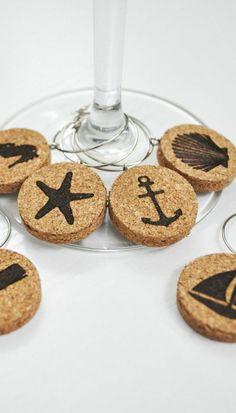 Cork Nautical Wine Glass Charms – Set of 6 - Wine Charms - Jetty Home - 1 Wine Craft, Wine Cork Crafts, Wine Bottle Crafts, Wine Cork Projects, Wine Cork Art, Wine Bottle Corks, Wine Glass Charms, Upcycled Crafts, Diy Crafts