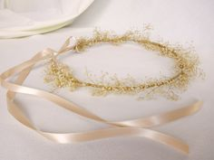 Photo prop Hair accessory Vintage style Senior Pictures Ivory dried Flower Head wreath Babys Breath Circlet. $20.00, via Etsy.