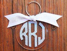 Sparkle Rainbow Monogram Key Chain from Freckle Fox Boutique