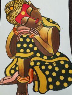 Ganesha Painting, Buddha Painting, Buddha Art, Madhubani Art, Madhubani Painting, Kalamkari Painting, Fabric Painting, Fabric Canvas Art, Painting Corner