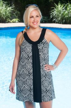 Headed to the pool? This soft and comfy plus size tunic will keep you covered in style. This brand new Diamond Print Tunic style #9604 is an Always For Me Cover exclusive... The wide scoop neckline