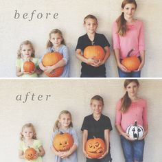 Love this idea ~ before and after pumpkin carving picture