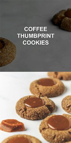 coffee cookies Coffee Thumbprint Cookies Crispy on the outside and soft and chewy on the inside, these thumbprint cookies are perfectly infused with coffee, and filled with a caramel centre! Köstliche Desserts, Delicious Desserts, Yummy Food, Snack Recipes, Dessert Recipes, Cooking Recipes, Snacks, Homemade Cookies, Yummy Cookies