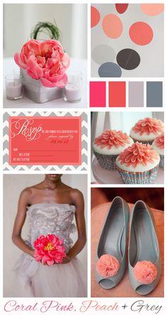 Coral Wedding Color Schemes | Coral Pink, Peach + Grey: Wedding Inspiration | Mood Board - Wedding ...