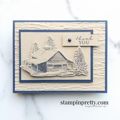 Create this Thank You Card using the Peaceful Cabin Bundle by Stampin\' Up! Mary Fish, Stampin\' Pretty Shop Online 24-7 Cropped