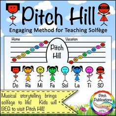 Are you struggling with teaching solfge or looking for a fun, new method for teaching solfge to elementary students?  Then look no further! Pitch Hill is for you!Pitch Hill is featured in the Music in Our Schools Month Melody eBook! In Pitch Hill, each solfge note is a character with his or her own story.