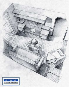 Interior sketch using simple pencil lines to show shading. This again works well to show layout but not necessarily texture and colour. However, it is possible to add a textured look using just pencil.