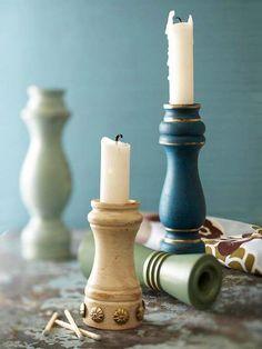 Een oud pepervat dient perfect als kaarsenhouder! #candle #holders #diy