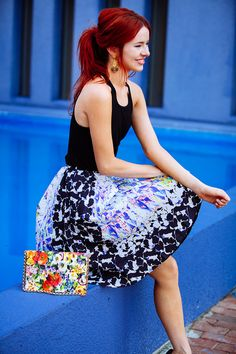 'Print Party' by Sea of Shoes/ Full printed mini skirt + basic black tank top + heels + printed clutch