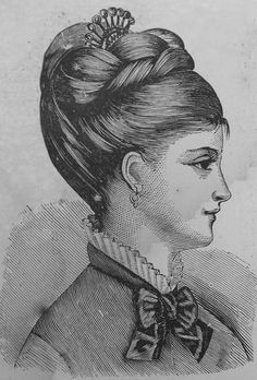 Style 1 1870s; looks like a small bun on top with a large piece of hair braided and wrapped around the bun and bottom back of hair swept up over the back pinned part of braid/bun. Pinned down and covered with a decorative haircomb.