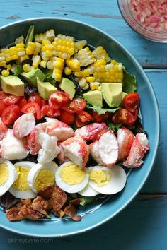 A classic Cobb salad with a light summer twist. If you live on the coast like me and have access to fresh lobster, this salad is a must! If you're worried about cooking a live lobster, many seafood stores will steam it for you. Crab or shrimp would also m Lobster Recipes, Seafood Recipes, Cooking Recipes, Lobster Salad, Seafood Salad, Fresh Lobster, Live Lobster, Cobb Salad, Skinny Recipes