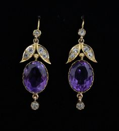Pair of Victorian amethyst and diamond pendant earrings, with old cut diamonds in leaf form Purple Jewelry, Amethyst Jewelry, Amethyst Earrings, Pendant Earrings, Victorian Jewelry, Antique Jewelry, Vintage Jewelry, Art Deco Jewelry, Fine Jewelry