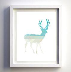 Geometric Deer Printable Deer Art Teal Tan Sand by FancyDigitals