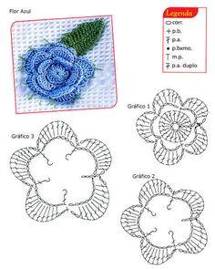 Crochet Knitting Handicraft: Flores A Crochet Diy Crochet Flowers, Crochet Diy, Crochet Chart, Love Crochet, Crochet Motif, Diy Flowers, Crochet Stitches, Flower Diy, Flower Chart