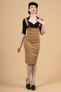 Something is. High waist suspenders pencil skirt