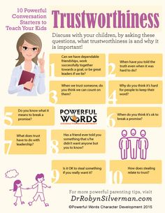 10 Questions You Can Ask to Teach Your Kids Trustworthiness | Powerful Word of the Month #characterdevelopment #parenting #drrobyn