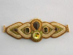 Bead Embroidery Bracelet   OOAK    Seed bead jewelry  by Vicus, $120.00