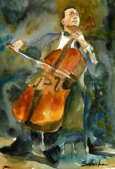 A passionate #watercolor depiction of the cellist Yo Yo Ma for sale as a fine art print by the artist Miriam Schulman #musician See more musical art :: https://www.etsy.com/shop/SchulmanArts/search?search_query=musical&order=date_desc&view_type=gallery&ref=shop_search