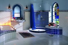 bathroom- this is striking. Reminds of a Moroccan room or a turkish hamam.