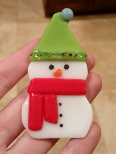 My fused glass Snowman... find it on Amazon handmade :)