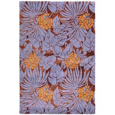 Purple and orange rug, enormous flower design