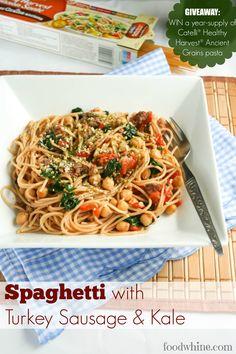 Spaghetti with Turkey Sausage and Kale