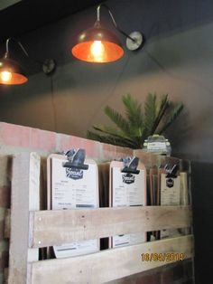 Menu holders made from Upcycled pallets