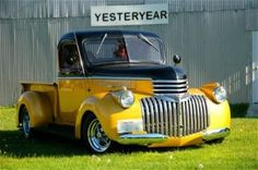 """My prior 1941 Chevy ton I built from a primerd Northern Cali Drove it back to Washington State. Thrashed for a year, with a goal to get some magazine ink. did so in a year ( Custom Classic Trucks) Called her """"STINGER"""". 1946 Chevy Truck, Chevy Diesel Trucks, Chevy Pickup Trucks, Chevy Pickups, Chevrolet Trucks, Pickup Camper, Chevy 4x4, Dually Trucks, 1957 Chevrolet"""