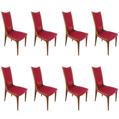 Set of Eight 50's Brazilian Dining Chairs | From a unique collection of antique and modern dining room chairs at http://www.1stdibs.com/furniture/seating/dining-room-chairs/