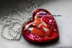 Resin Necklace, Red Fox, Glitter Heart Foxy Statement Necklace, Resin Heart Shaped Pendant Necklace Full of Glitter & a Fox by isewcute by isewcute on Etsy